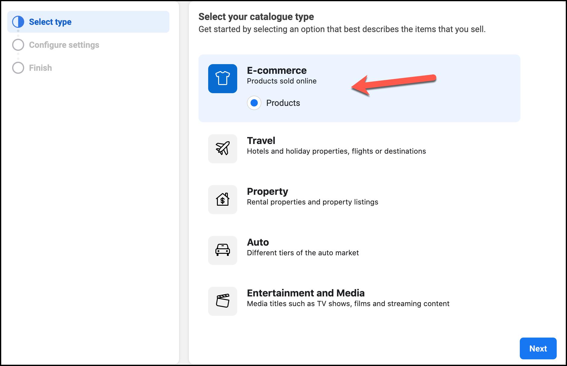 Select Catalogue type - Facebook WooCommerce Plugin