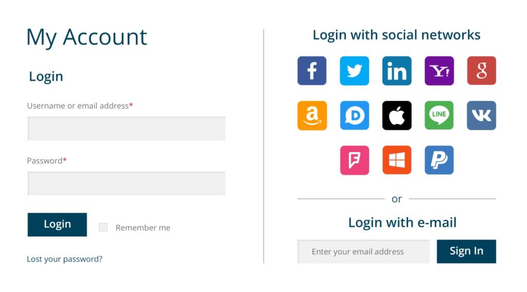 My Account - WooCommerce Social Login