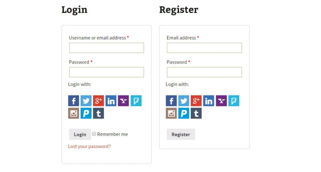 YITH Login & Register - social login WooCommerce
