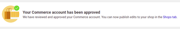 Commerce account approval for Facebook