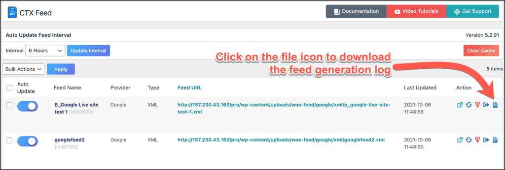 Download feed generation logs