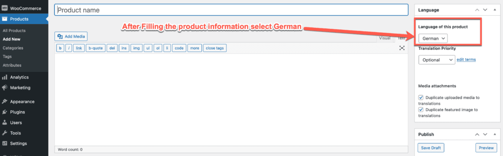 Select Language on Product Page
